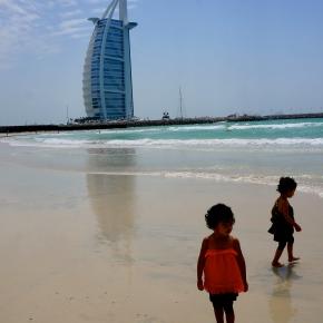 The traveling twins at Burj Al Arab, Dubai. Have twins, willtravel.
