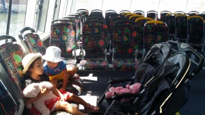 Twin stroller in the ferry