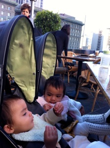 Double stroller as high chair