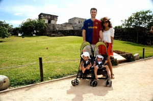 Travel with twins at Chichen Itza Mexico