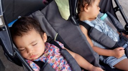 Travel with twins napping in the double stroller